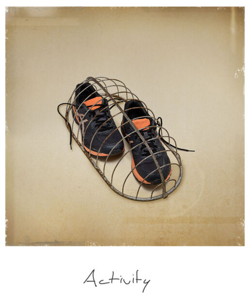 sneakers catched in cage