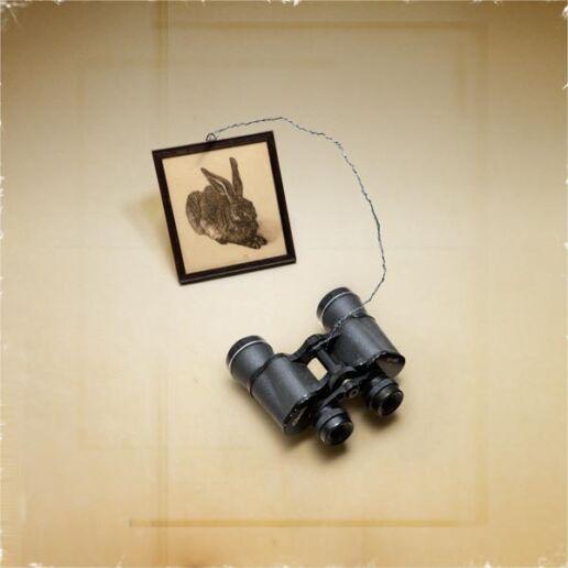 binoculars strap on painting