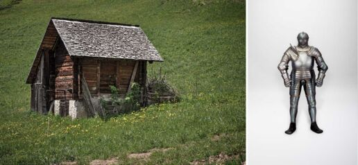 wooden hut holds knight armor