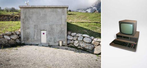 concrete construction in the mountains and a robotron computer