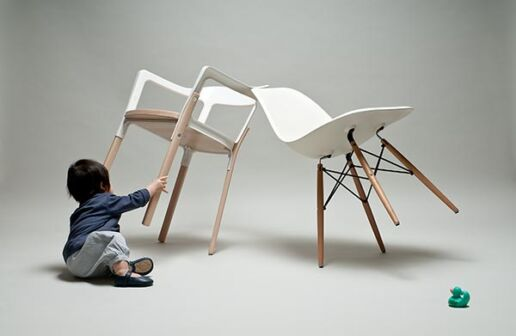 toddler knocks over two designer chairs